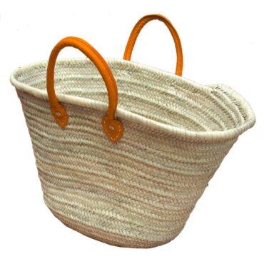 Straw Market Basket Handles Orange