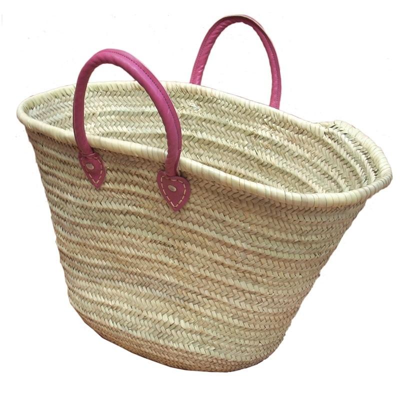 Straw Market Basket Handles Fushia