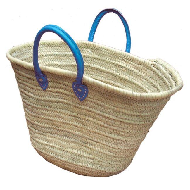 Straw Market Basket Handles Blue