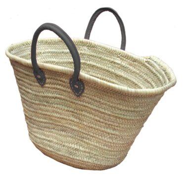 Straw Market Basket Handles Gray
