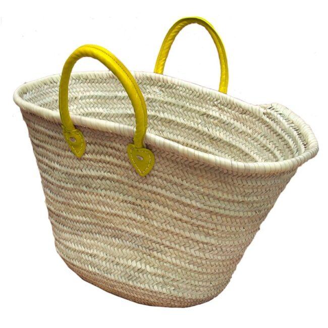 Straw Market Basket Handles Yellow