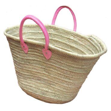 Straw Market Basket Handles Pink