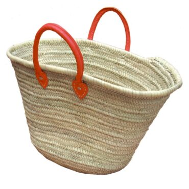 Straw Market Basket Handles Red