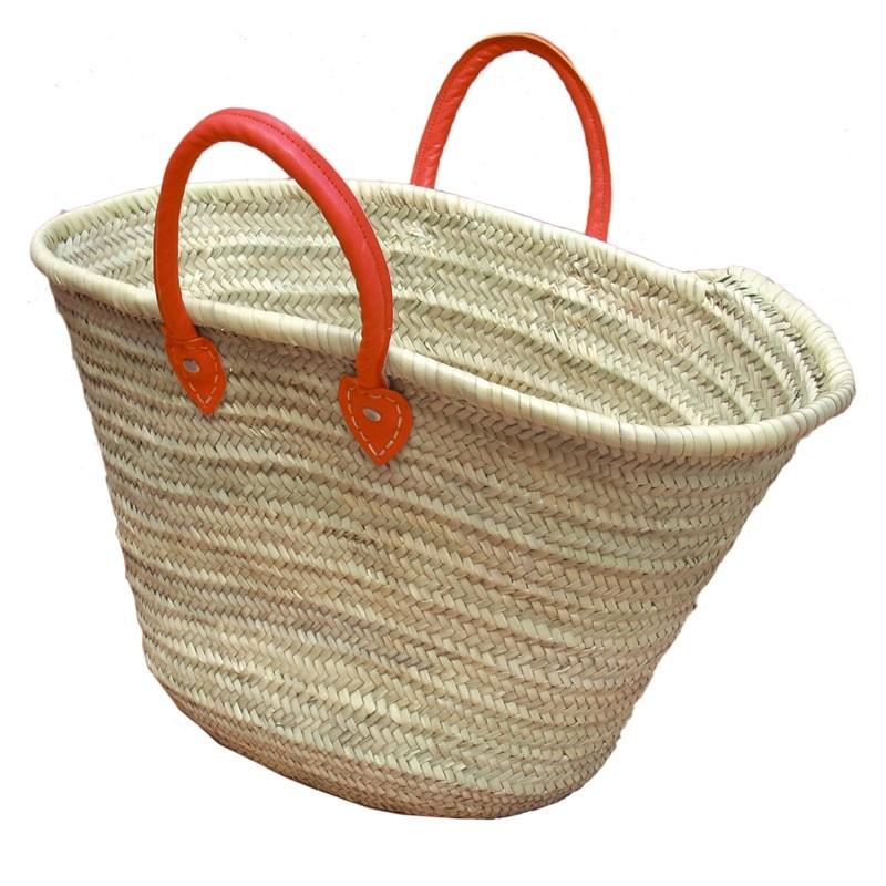 Straw Market Basket Handles Red