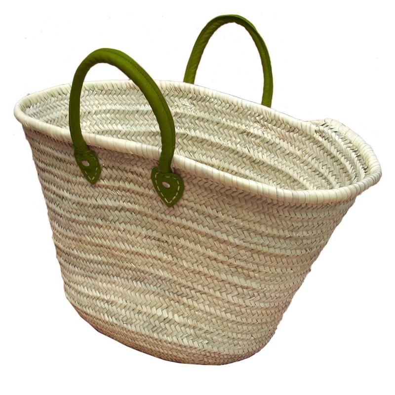Straw Market Basket Handles Dark Green