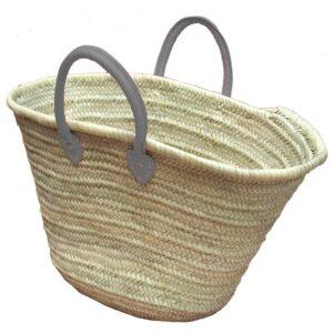 Straw Market Basket Handles Light Gray