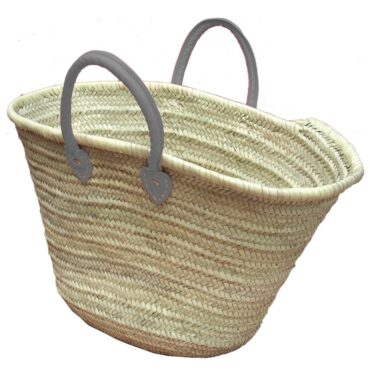 Straw Market Basket Handles Light Gray