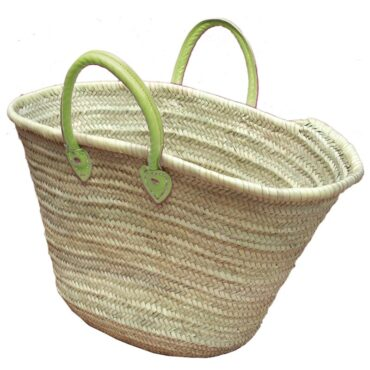 Straw Market Basket Handles Light Green