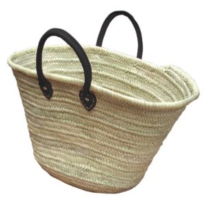 Straw Market Basket Handles Black