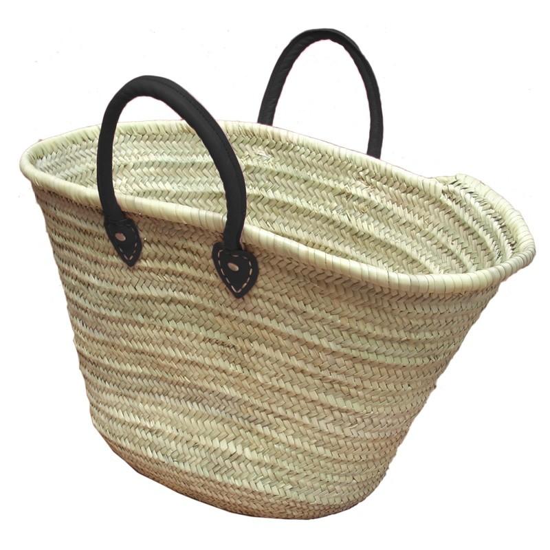Straw Market Basket Handles Black