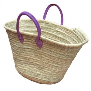 Straw Market Basket Handles Purple