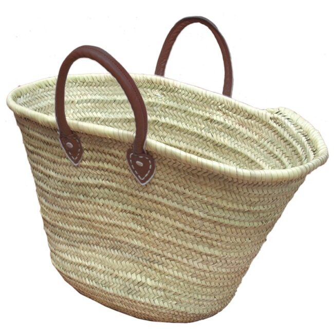 Straw Market Basket Handles Brown