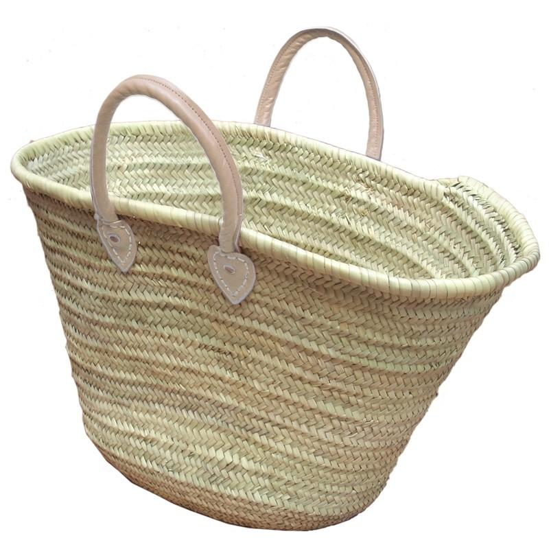 Straw Market Basket Handles Natural
