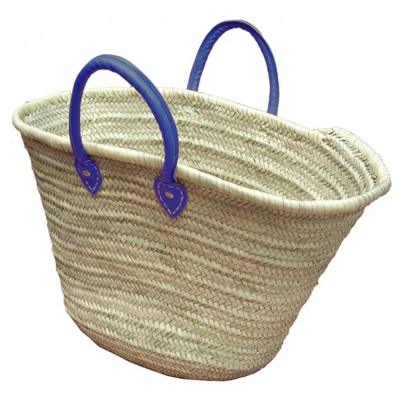 Straw Market Basket Handles Blue Night