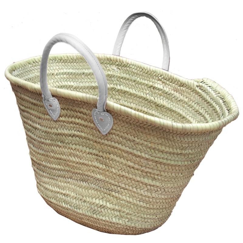 Straw Market Basket Handles White