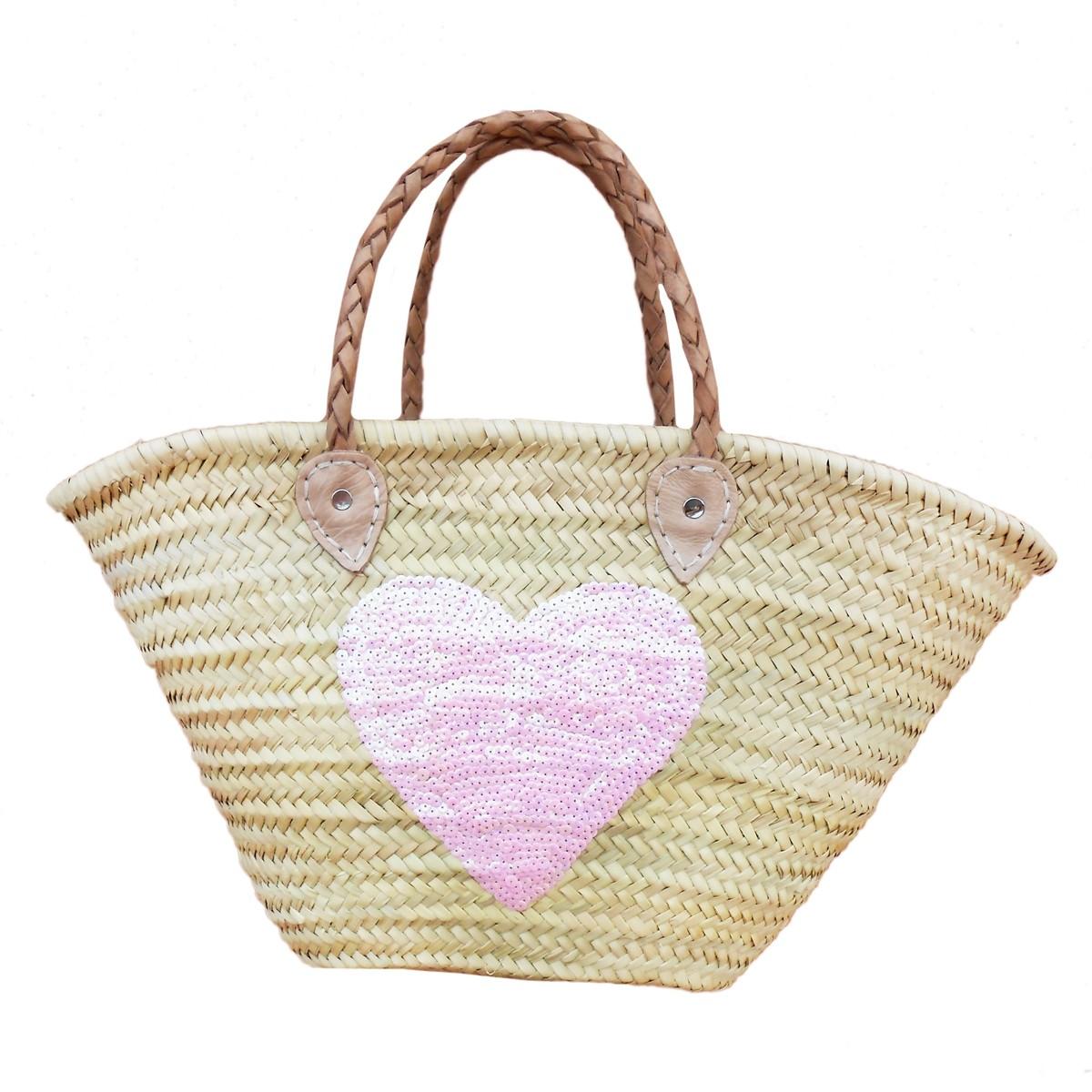 Baskets Sequin Heart Pink