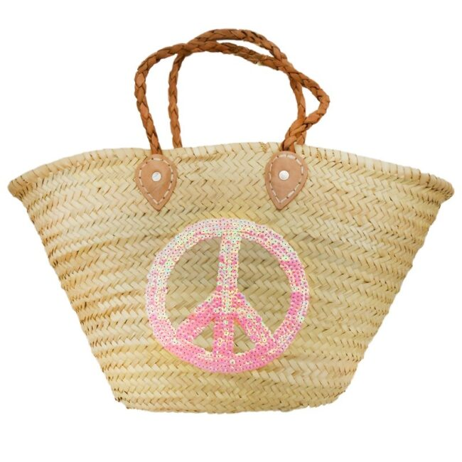 straw Baskets Sequin Peace and Love Pink