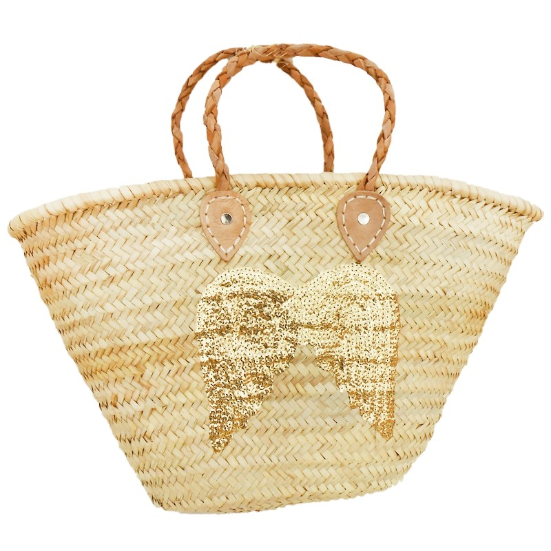 straw Baskets Sequin Angel Gold