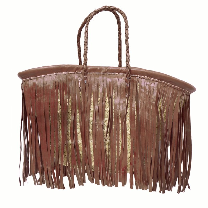 Straw Beach Baskets Fringe Leather Brown