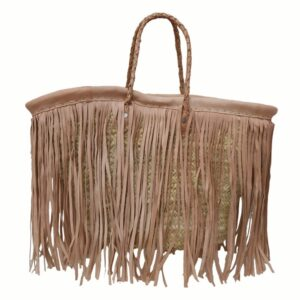 beach straw Baskets Fringe Leather Natural