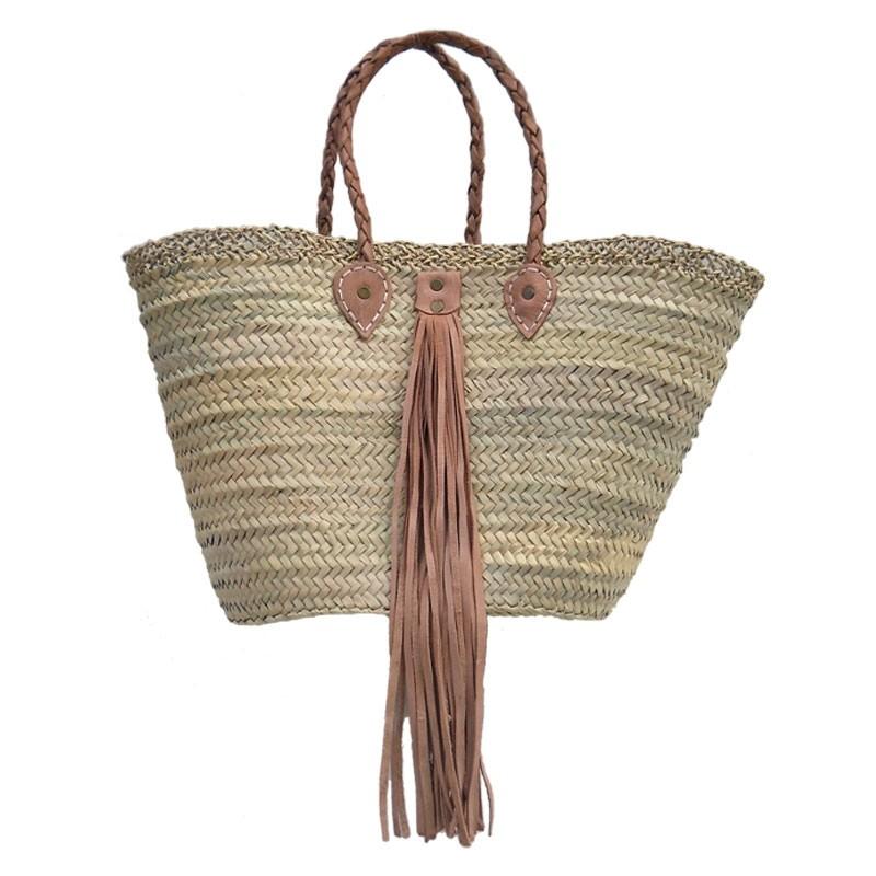 beach Baskets Leather Tassel Natural