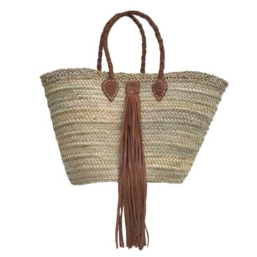 beach straw tote Baskets Leather Tassel Caramel