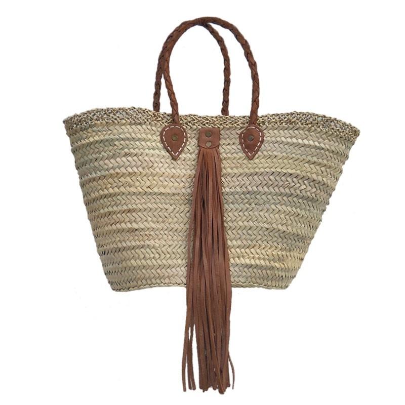 beach straw tote Baskets Leather Tassel Caramel