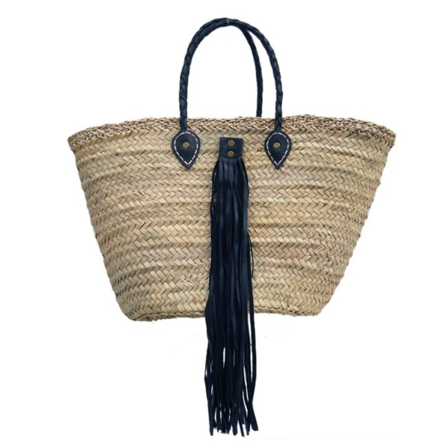 beach Baskets Leather Tassel Black