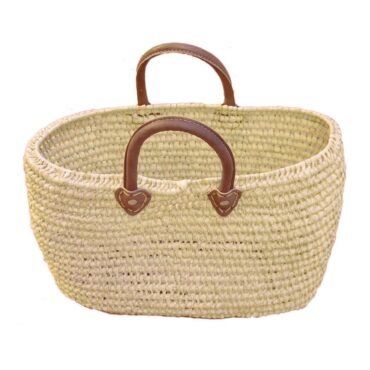 Natural Oval Basket Handle Leather