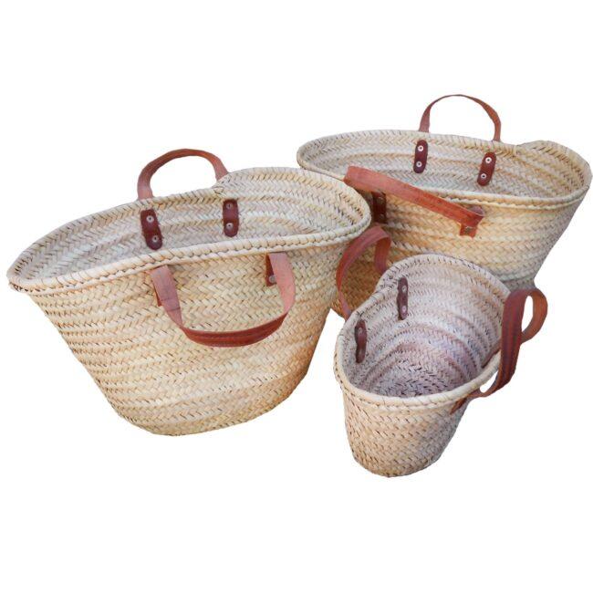 three flat handle baskets