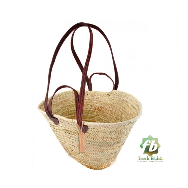 Natural French Basket-Flat Leather Handle Double