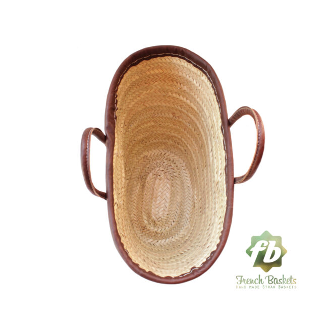 Natural French Basket Handle Leather Outline