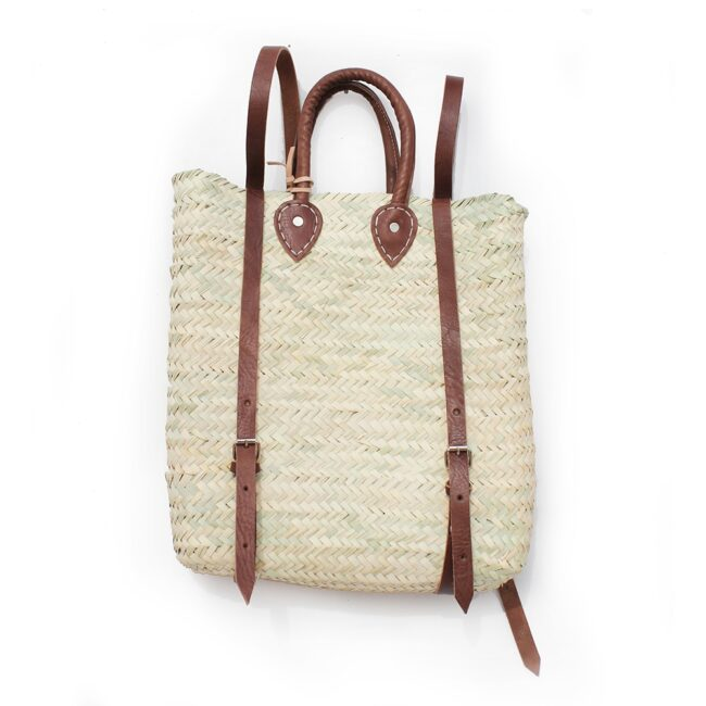 straw baskets Backpack square shape French Baskets