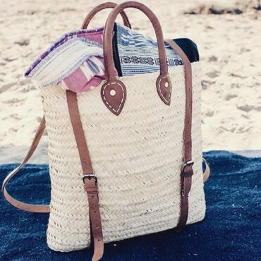 straw baskets Backpack square shape