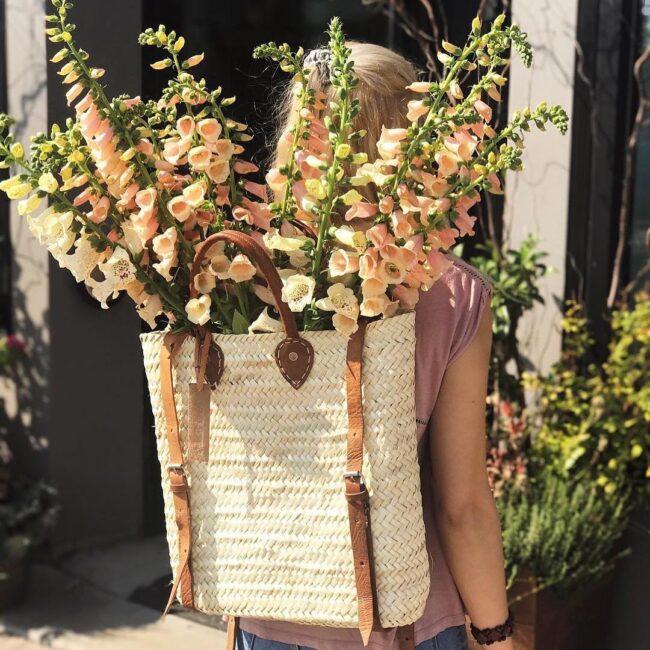 straw baskets Backpack moroccan basket
