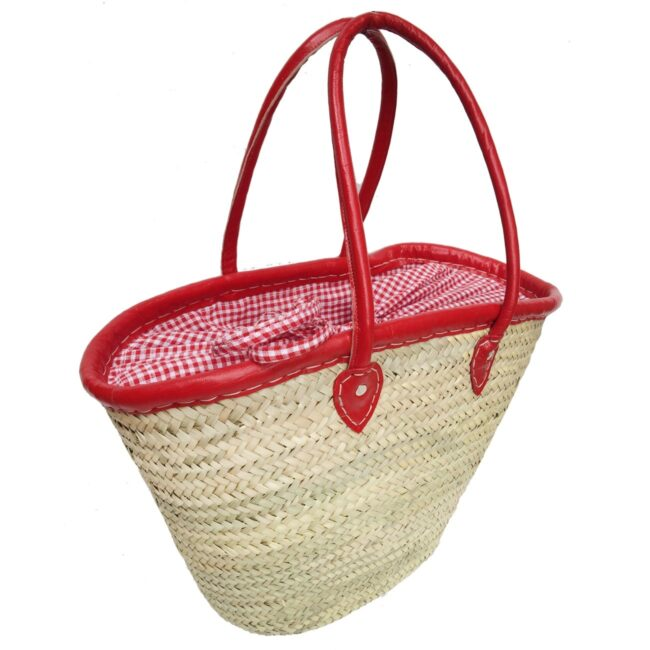 Picnic straw baskets red gingham