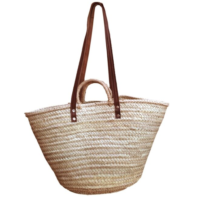 Natural Basket Flat Leather and Rope Handle Double