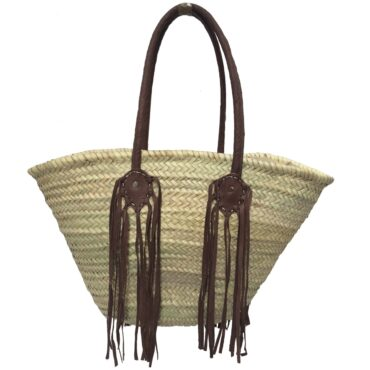Indian basket Double leather fringe