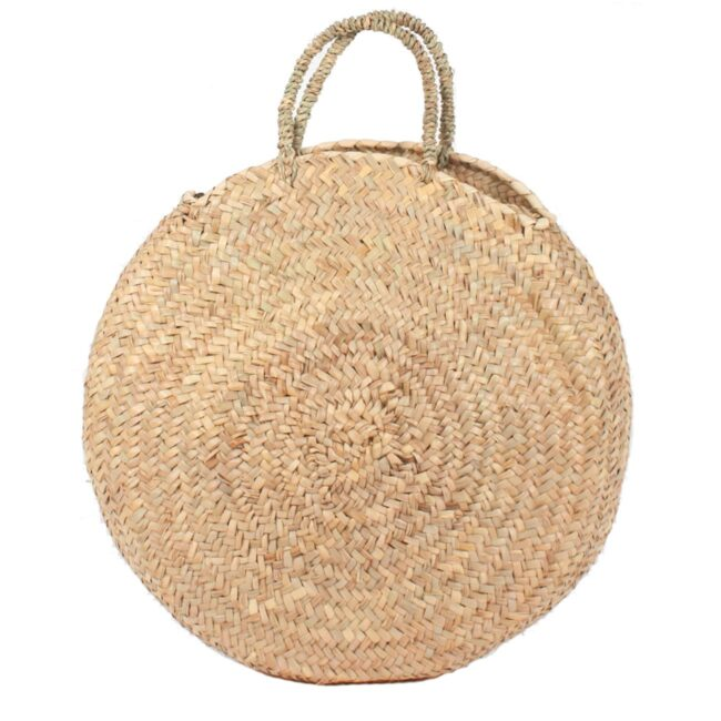 Round large wicker basket natural Handles