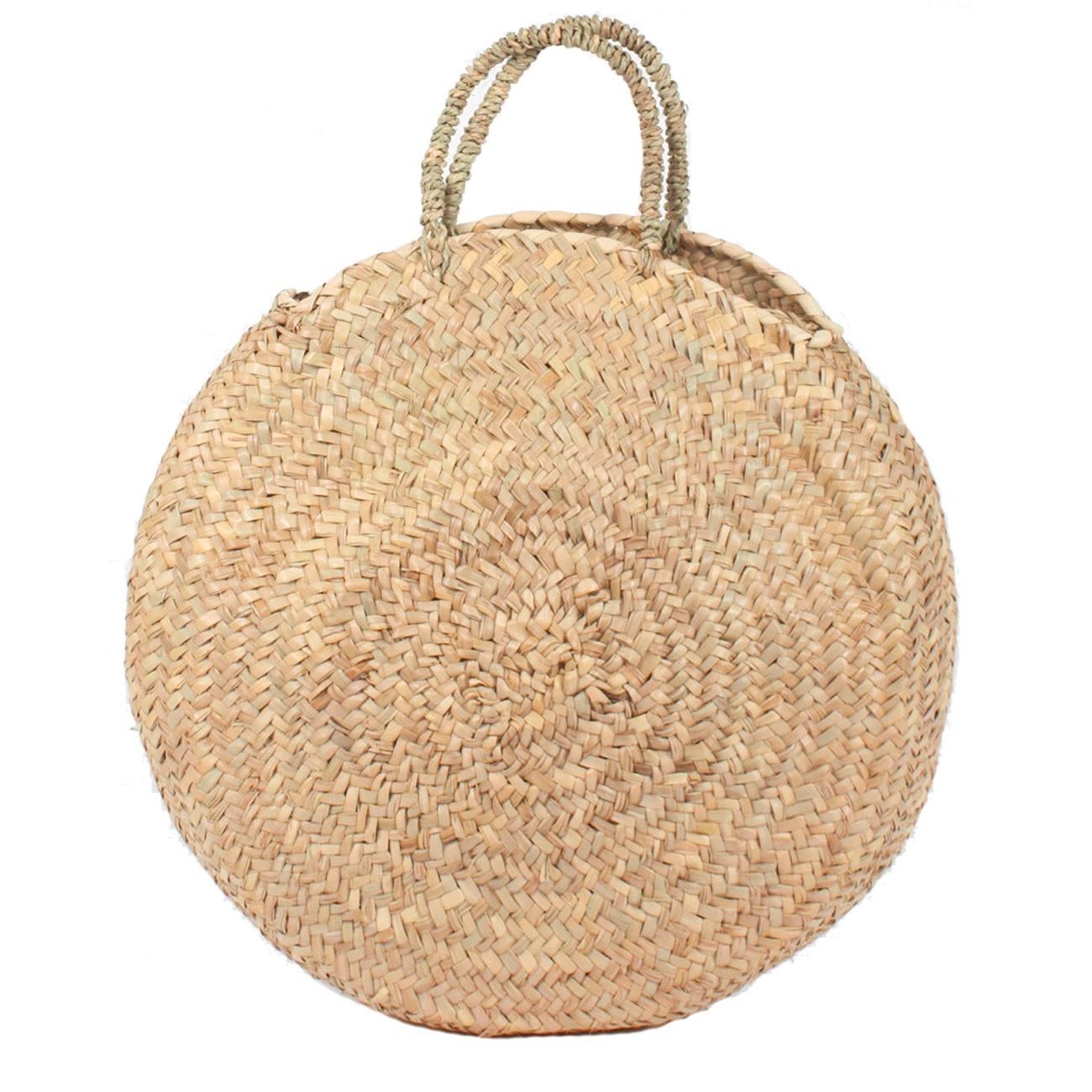 Round large wicker basket natural Handles
