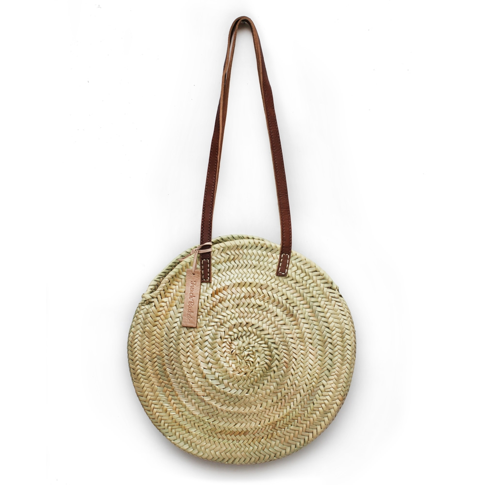 Round straw ba long leather handle