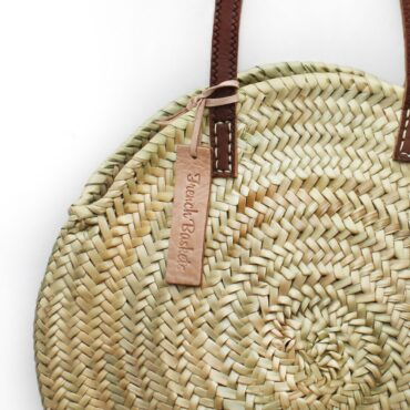 Round straw bag wicker basket long leather handle