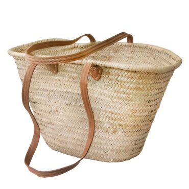 Large French basket with long leather strap