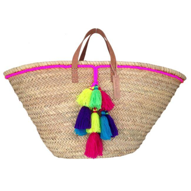 Basket small wool pom pom neon fuchsia