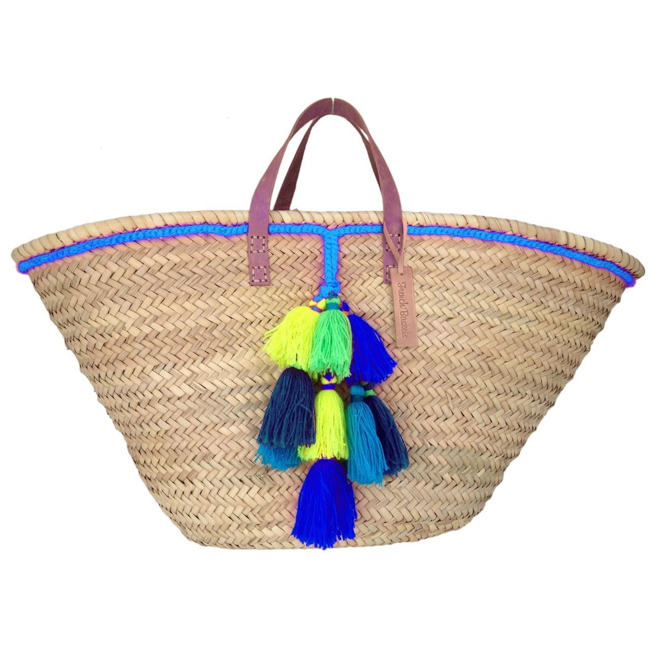 Basket small wool pom pom neon bleu