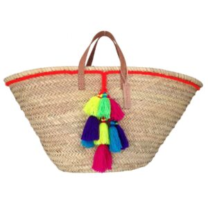 Basket small wool pom pom neon orange handles Leather flat
