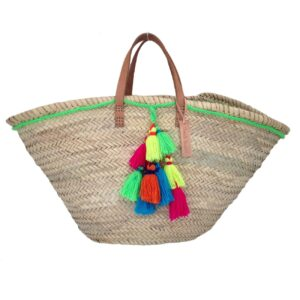 Basket small wool pom pom neon green
