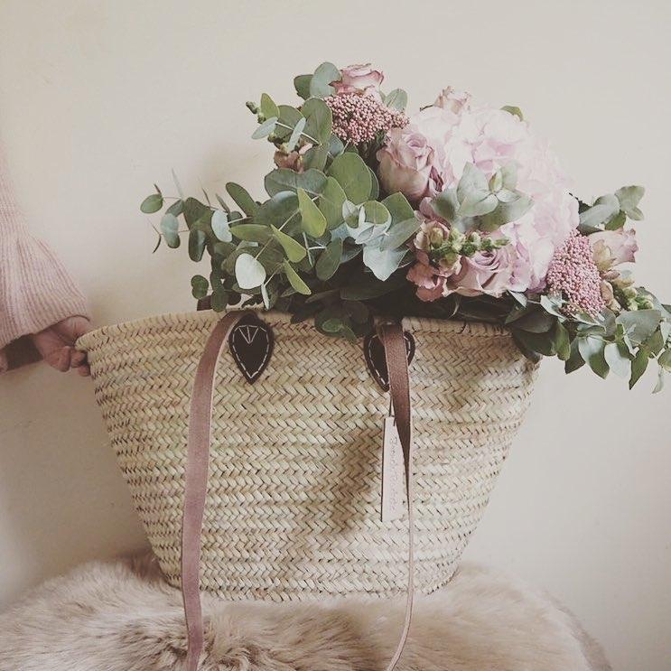 Natural Basket long Flat Leather Handle