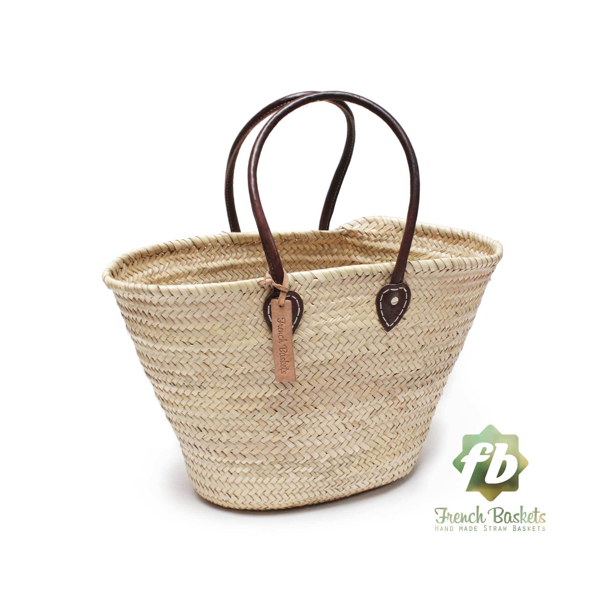Natural Basket Handle long leather French Baskets