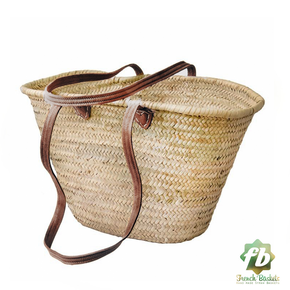 NATURAL French BASKET LONG FLAT LEATHER HANDLE